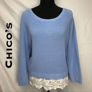 Chico's Knit Sweater with Lace Trim